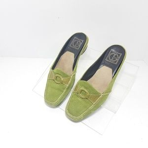 Cole Haan Air Mules Green Suede Ring Size 7.5